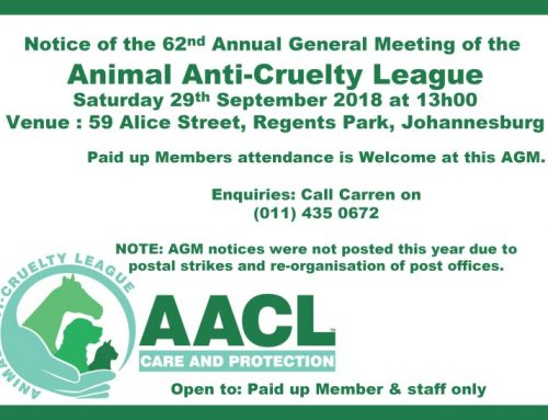 Animal Anti-Cruelty League Johannesburg 62nd AGM 2018