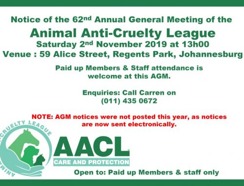 Notice: AACL JHB AGM 2019
